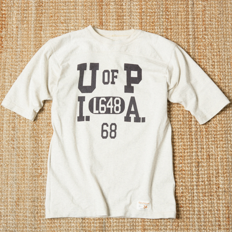 WAREHOUSE U OF P PRINTED RUGBY TEE - OATMEAL