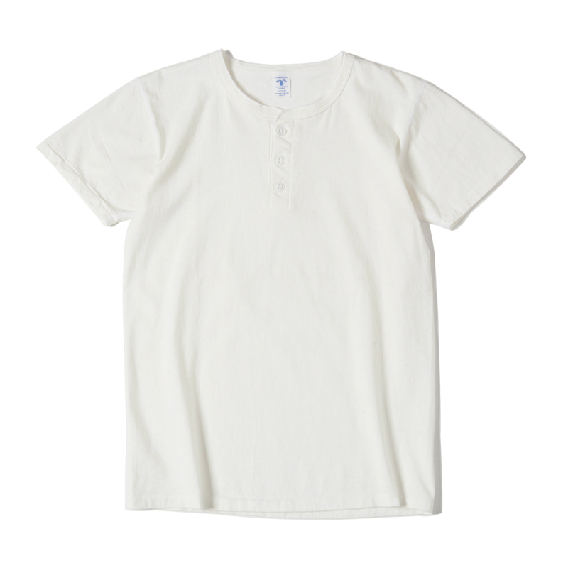 SS HENLEY NECK SHIRTS - WHITE