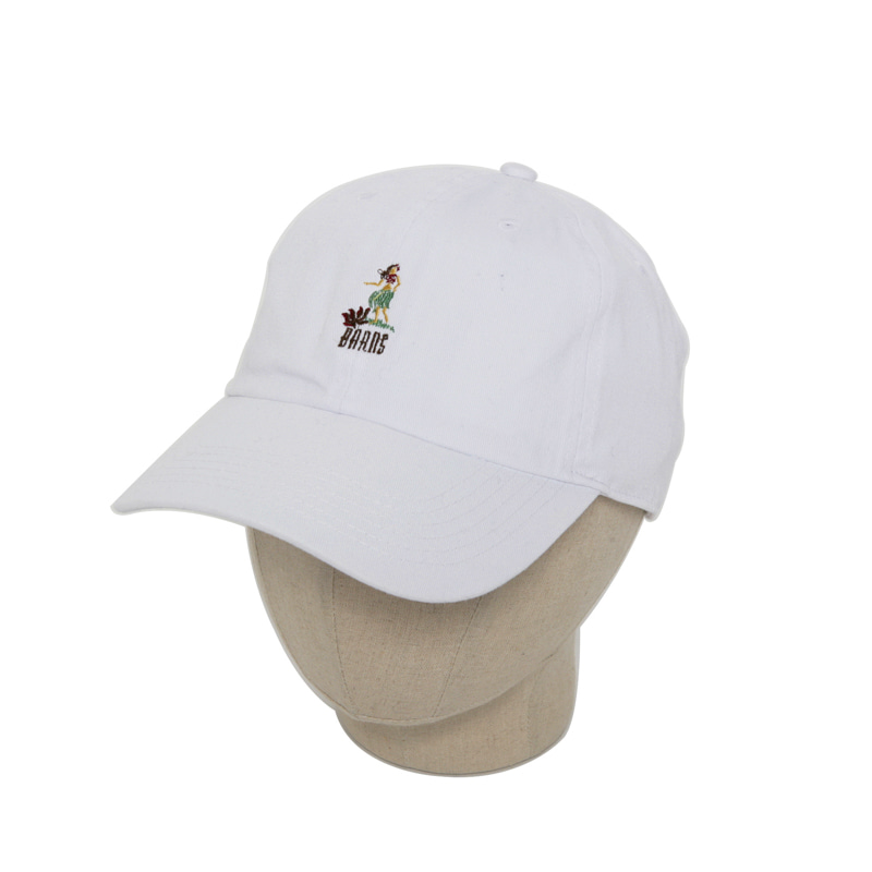 VINTAGE ALOHA EMBROIDERED BALL CAP - WHITE