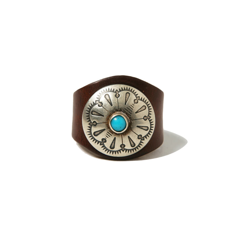 LEATHER RING W CONCHO - BROWN