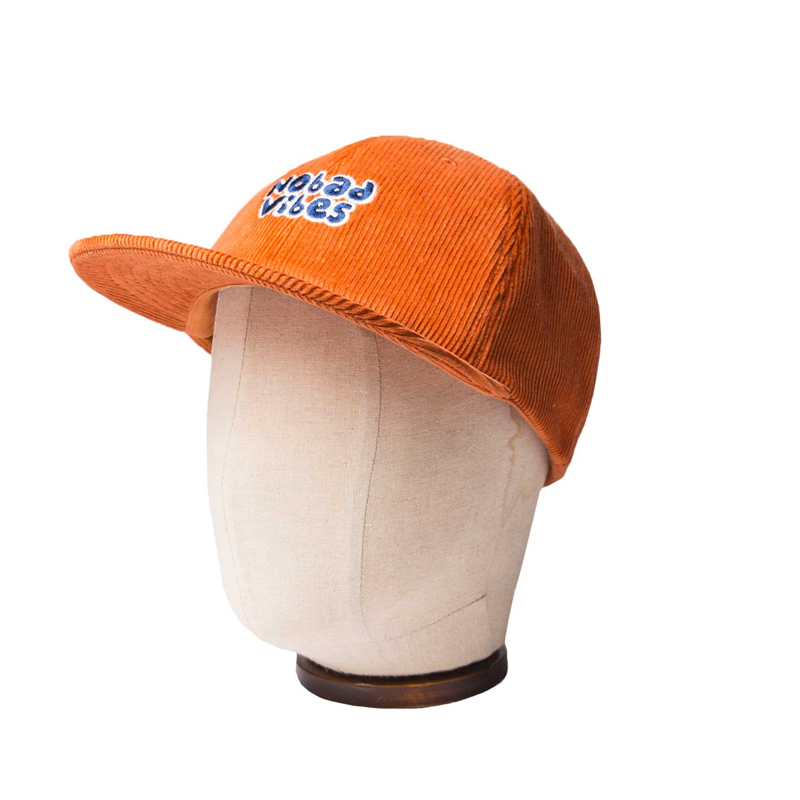 CORDUROY 6 PANNEL CAP - ORANGE