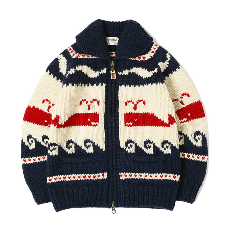 CANADIAN SWEATER - SPOUTING WHALE NAVY / RED