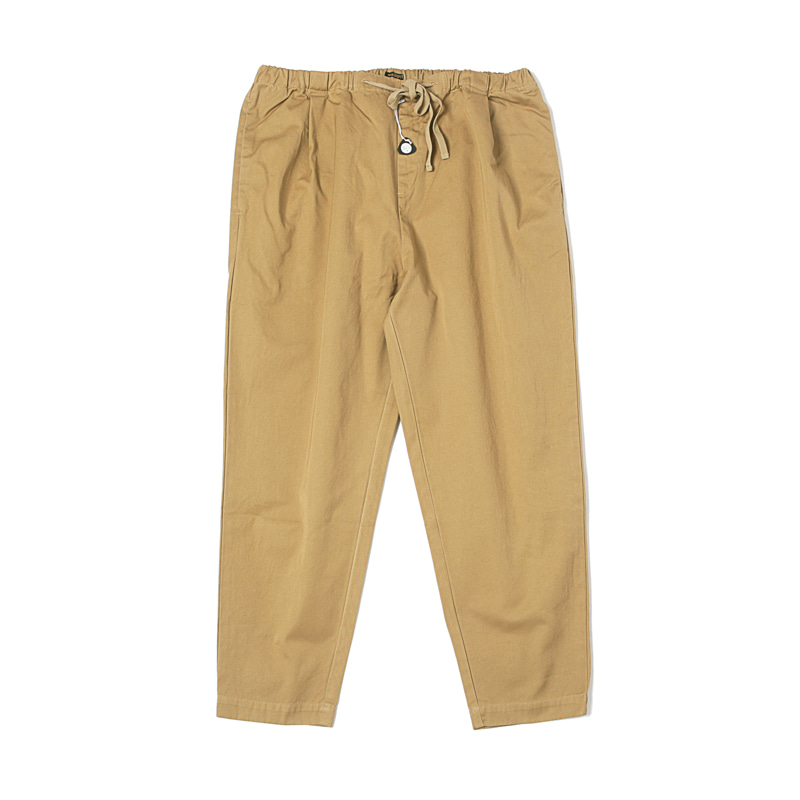 MATURE DRAWSTRING TUCK PANTS - BEIGE
