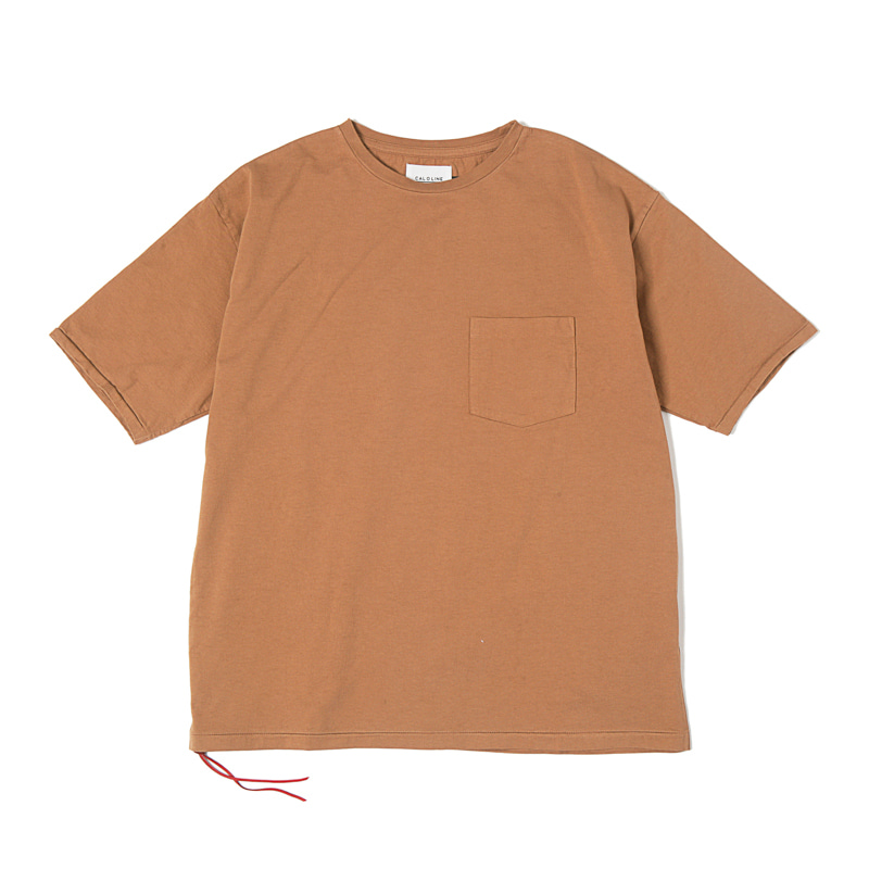 SOLID COLOR POCKET TEE  - RUSSET