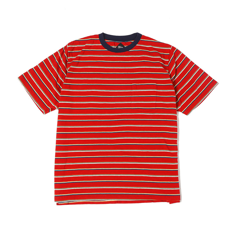 STRIPED POCKET TEE - RED MT