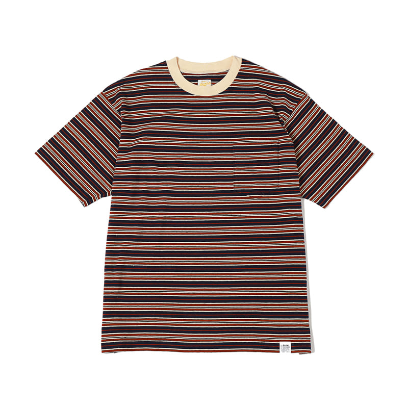STRIPED S/S TEE - NAVY