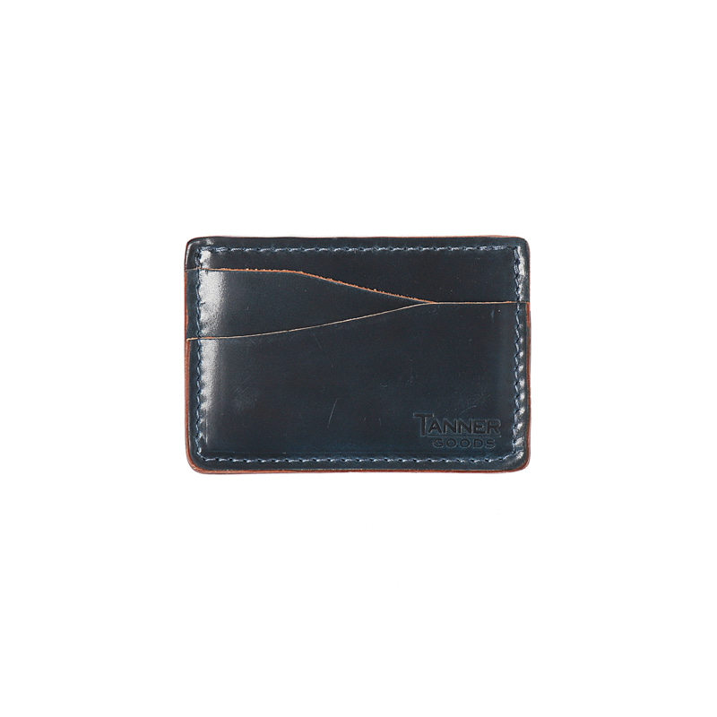 CORDOVAN JOURNEYMAN CARD WALLET - NAVY