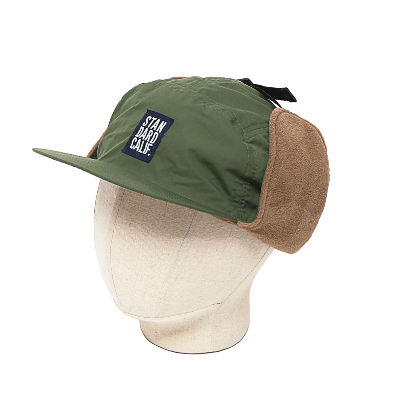 EAR FLAP BALL CAP - OLIVE