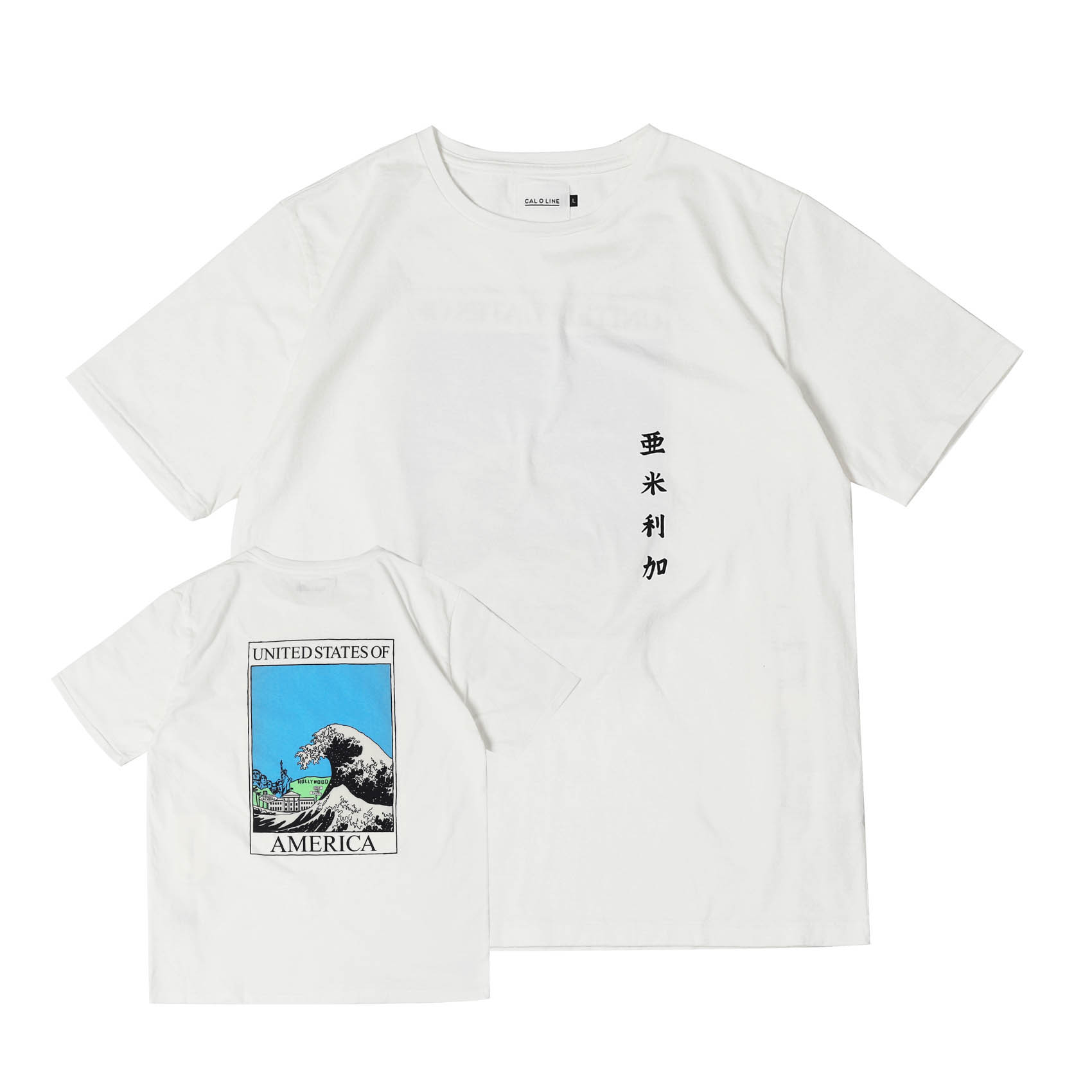 AMERICA WAVE T-SHIRTS - WHITE