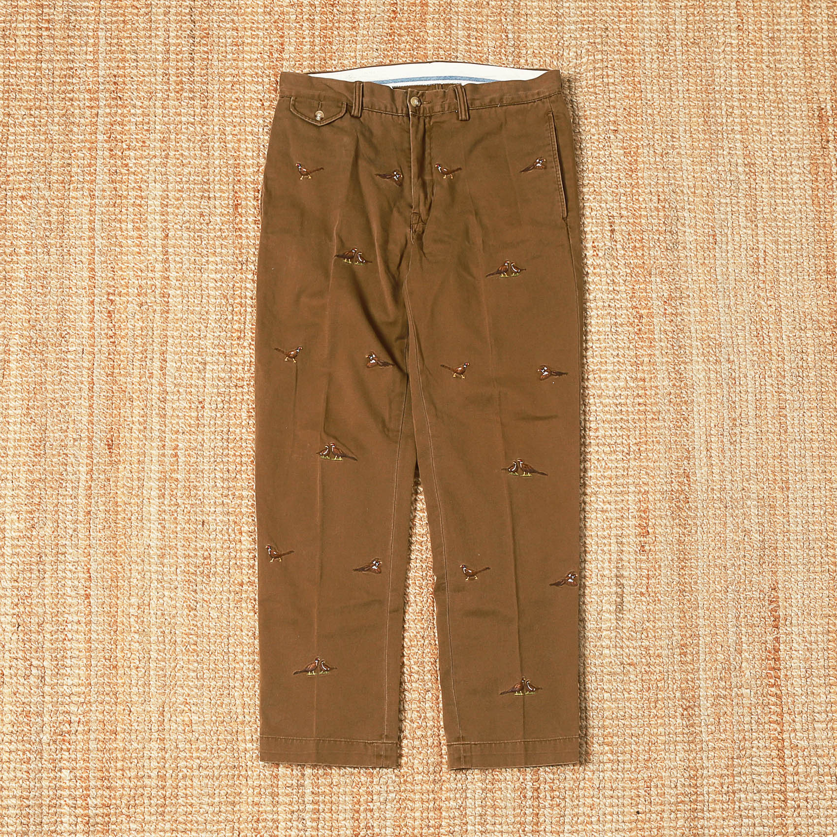 POLO RALPH LAUREN EMBROIDERED PANTS - BROWN